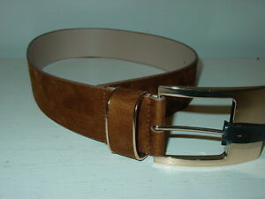 """Express Women's Brown Faux Suede Belt Large Gold Buckle 2"""" Wide-S-NWT-$39.90 NEW"""