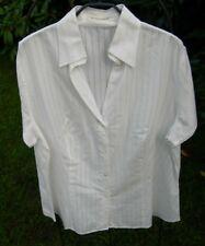 Blusen: Kurzarm Business Bluse, in weiß, gestreift, Größe 46, von Jacques Britt