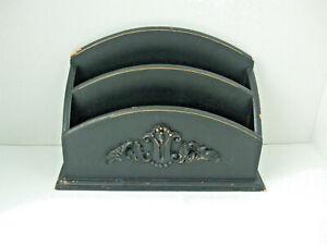 Vintage Ornate Black Shabby Distressed Wood Desktop Letter Mail Holder Organizer