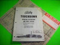 Touchdown ORIGINAL Bally Bingo Pinball Machine Parts Manual Schematic Card 1960