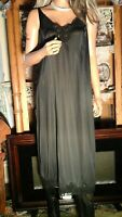 VTG 70's BALI PLUS SZ 42 2X BLACK SILKY ANTRON III NYLON NIGHTIE / FULL SLIP