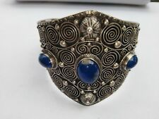 Antique Vintage Jewelry Bracelet Sterling Silver Italy Lapis Lazuli Stones