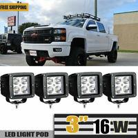 4pcs 16W SQUARE LED Work Light Truck DRL Driving Fog Lamp Offroad ATV UTV