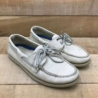 Sperry Top-Sider Mens Authentic Original 2-Eye Boat Shoes Ivory Leather 8.5 M