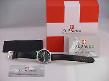 Rotary Mens St Moritz Gents Swiss Watch with Black Leather Strap GS03615/04