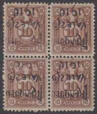 PERU 1916 Sc 206 Bustamante 195a BLOCK OF FOUR WITH INVERTED SURCHARGE MINT