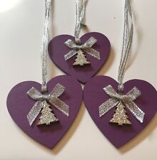 3 X Christmas Decorations Shabby Chic Real Wood Heart Tree Bows Silver Purple