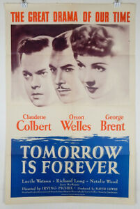 TOMORROW IS FOREVER 1946 ORIGINAL MOVIE POSTER - ORSON WELLES CLAUDETTE COLBERT