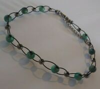 Vintage Lucite Statement Choker Necklace Light Blue & Silver Tone Beads Jewelry
