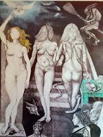 GUTTUSO RENATO litografia   donne uomini no picasso dali de chirico sironi dova