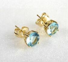 fashion1uk 14K Gold Plated Aqua Blue Simulated Diamond Men Stud Earrings 7mm