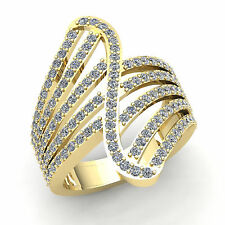 Band Right Hand Ring 14K Gold Genuine 3ctw Round Cut Diamond Ladies Fancy