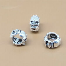 5 Sterling Silver Large Hole 3-Sided Skull Bead 925 Silver for European Bracelet