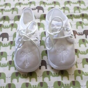White Satin Infant BOY Baptism Booties Shoes Cross Detail Small