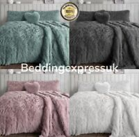 Luxury Cuddles Alaska Teddy Bear Fleece Duvet Cover Warm Long Fur Bedding Set