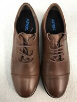 Apex Leather Shoes UK 11 Wide Fit Comfort Shoes Brown Lace Up Menswear