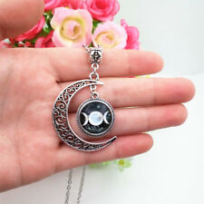 Triple Moon Goddess necklace Black letters wiccan pagan wicca chain pendant 7