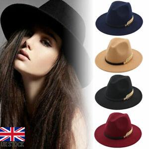 Women Ladies Fedoras Hat Woolen Wide Brim Jazz Church Cap Trilby Panama Hat Gift