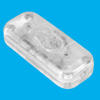 Clear 3 Core In line Lighting Lamp Rocker On Off Switch, 110 to 250V, 2A