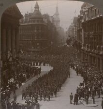 Victory March of London's Own Regiments: Saluting the Mayor - WW1 Stereoview