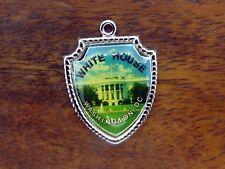 Capital Travel Shield charm #E11 Vintage silver White House Washington Dc