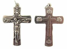 Silver Tone Holy Trinity God Holding Jesus Cross Crucifix Medal, Lot of 2