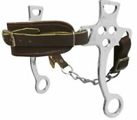 Western Saddle Horse Fleece Lined Leather Hackamore w/ Chain goes on the Bridle