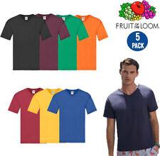Pack Of 5 Fruit Of The Loom Mens Short Sleeve Original V-Neck T-Shirt