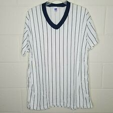 Vintage Russell Athletic Men's Size Large L Striped Referee USA Made T Shirt