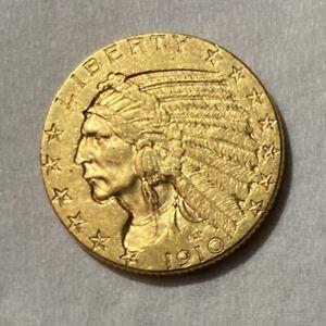 1910 Gold Indian Head $5.00 Half Eagle Coin