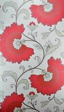 Red Grey Wallpaper Light Green Floral Design White Background Feature Wall