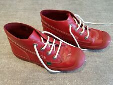 Kickers size 4 junior red leather lace up ankle boots trainers