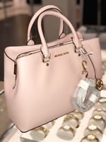 Michael Kors Large Leather Blossom Pink Gold Satchel Crossbody Handbag Purse Bag
