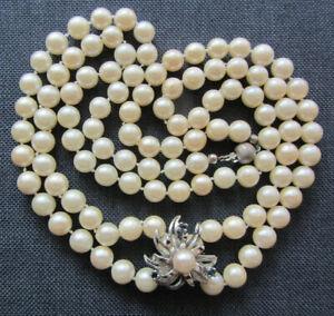 89cm XL Akoya Perlen Kette Halskette Collier Verkürzer 925 JKa Silber Saphir 64g