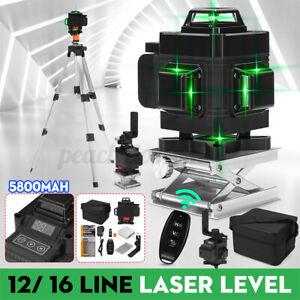 4D 16 3D 12 Line Green Light Laser Level Self Leveling 360° Rotary Measure  /m