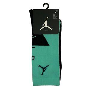Nike Air Jordan Socks 2 Pair Kid's Crew Socks Shoe 5Y-7Y Mint Green & Black