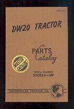 1954 CATERPILLAR DW20 TRACTOR PARTS MANUAL /21C823-UP / FORM 31269