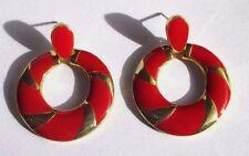 boucles d'oreilles bijou percées couleur or émail rouge anneau pampille 3409