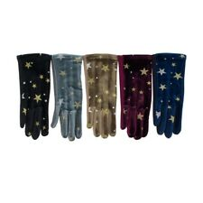 Women's Star Velvet Gloves Winter Design Style Fashion Star Pattern Soft Gloves