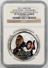 2011 Niue Silver $2 Star Wars Colorized Chewbacca and Han Solo NGC PF70 UCAM