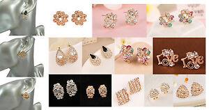 Gold Plated Crystal Diamante Stud Earrings Pierced Buy 2 Get 1 Free ( add 3)