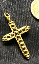 18KT Gold And Blue Saphire Cross Pendant, 1.7grams, Double Sided