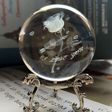 Engraved Rose Miniature Flowers Sphere Clear Glass Crystal Ball &Stand Decor 6cm