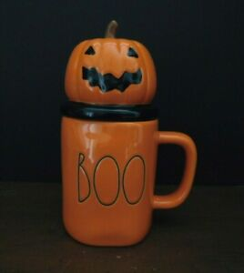 "New Rae Dunn by Magenta Pottery ""Boo"" Mug Orange Halloween Free Ship New"