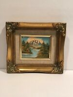 Mountain River Landscape Oil Painting Gold Gilt Frame