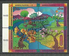 UNO-Wien/ Bäume MiNr 226/29 o Viererblock-Ersttagstempel