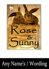 DOUBLE RABBIT NAME SIGN Plaque plate personalised hutch cage run garden gift