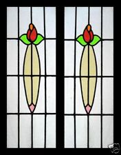 Beautiful Pair Floral English Antique Stained Glass Windows Sidelights