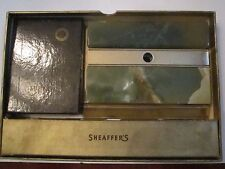 VINTAGE SCHEAFFER'S PEN DESK SET IN ORIG BOX - 14K GOLD NIB & 2 IRID. NIBS - AA