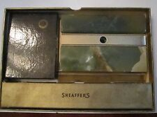Vintage Scheaffer'S Pen Desk Set In Orig Box - 14K Gold Nib & 2 Irid. Nibs - Aa
